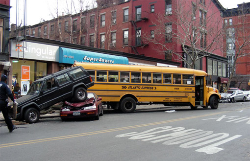 Brooklyn: School Bus Crashes Into Numerous Parked Cars (Gothamist)