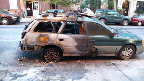 Cars Burned In Brooklyn on subaru logo