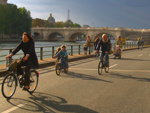Bikes In Paris France Biking by the Seine during