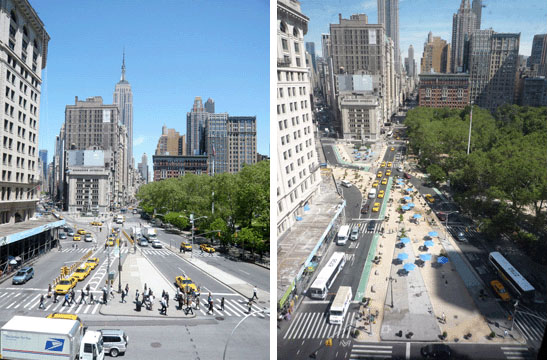 Image-Before and After the Transformation, courtesy Streetsblog