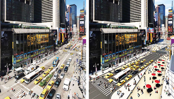 Before and after a car-free Broadway