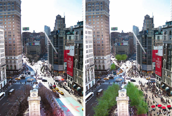 Before and After: A rendering of a car-free Broadway at 6th Ave.,