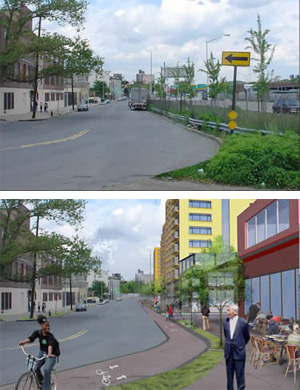 With an official vision for what could replace the Sheridan Expressway -- this rendering came from the community __ -- teardown advocates stand a much better chance.