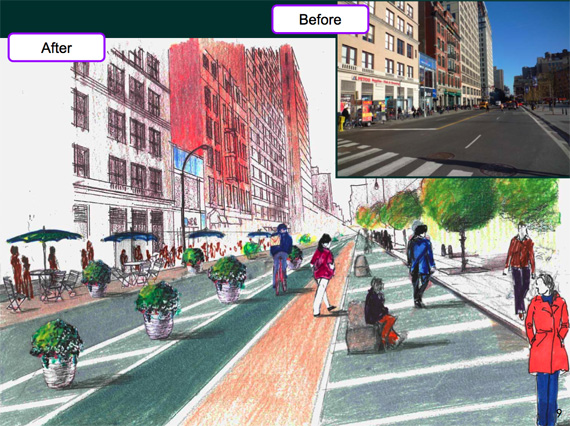 What Union Square North will look like when this project is complete. Rendering: NYCDOT