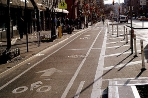 The Ninth Avenue bike lane was funded through the Transportation Enhancements program, which is currently stalled. Photo: NYC Bike Maps.
