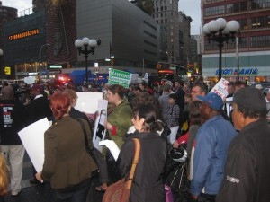 Supporters of many different political parties joined together in support of transit. Photo: Noah Kazis.