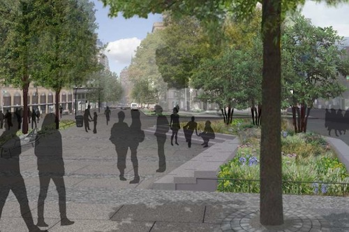 CB 2 voted unanimously to create this new public plaza at Cooper Square, though they want there not to be seating at night. Image: DDC.