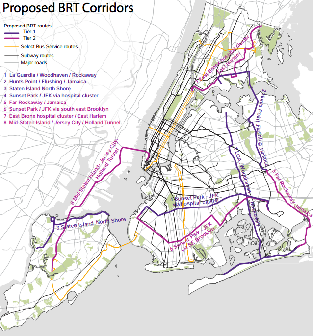 The Pratt Center is recommending eight BRT routes, primarily for outer-borough trips beyond the subway's reach.