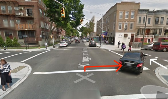 Gedalia Gruntzweig was killed in broad daylight by a city sanitation driver making a right turn at a signalized intersection with crosswalks. The red arrow represents the movement of the driver and the white arrow the movement of the victim, according to reports and photos from the scene. Image: Google Maps