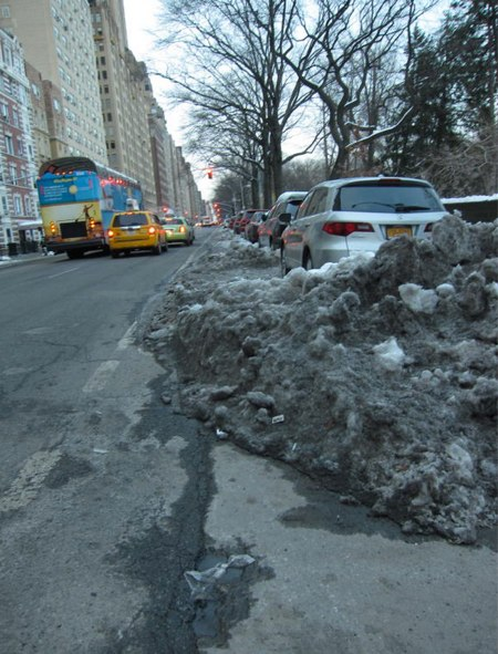 Central Park West bike lane on Saturday. Photo: Ken Coughlin
