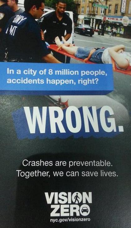NYPD and DOT will hand out this flyer at high-crash intersections.