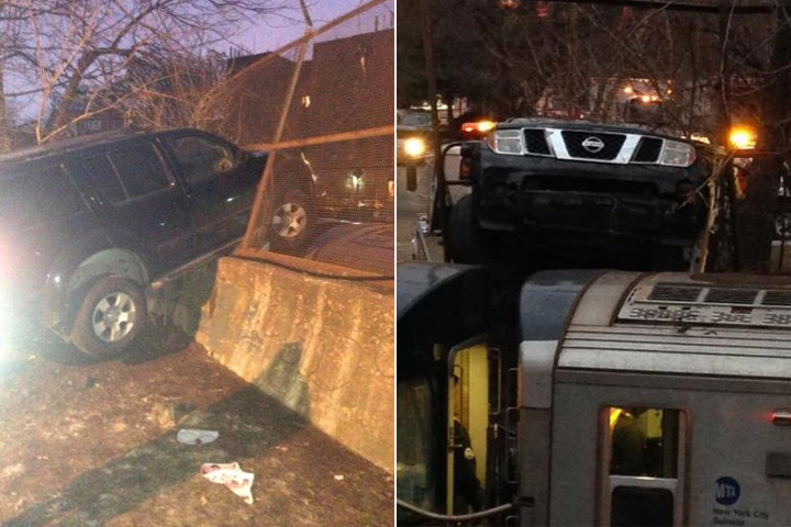 An SUV driver attempted to flee after crashing through a fence and landing on a moving Q train. Photo: ##http://nypost.com/2014/03/19/driver-flees-after-suv-lands-on-train-in-bizarre-crash/##NY Post##