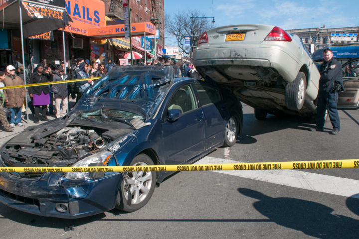 The ##http://nypost.com/2014/03/22/scare-allel-parking-in-bronx-as-cars-smash/##Post## had some fun with this crash in a Bronx precinct where local officers write around ##http://nypd.openscrape.com/data/2014/02/052sum.pdf##two speeding tickets a day##.