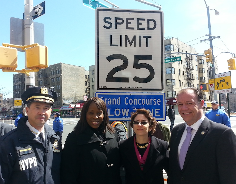 "NYPD Chief of Transportation Thomas Chan, Council Member Vanessa Gibson, Transportation Commissioner Polly Trottenberg and Assembly Member Mark Gjonaj unveil the city's second ""arterial slow zone"" this morning. Photo: Stephen Miller"
