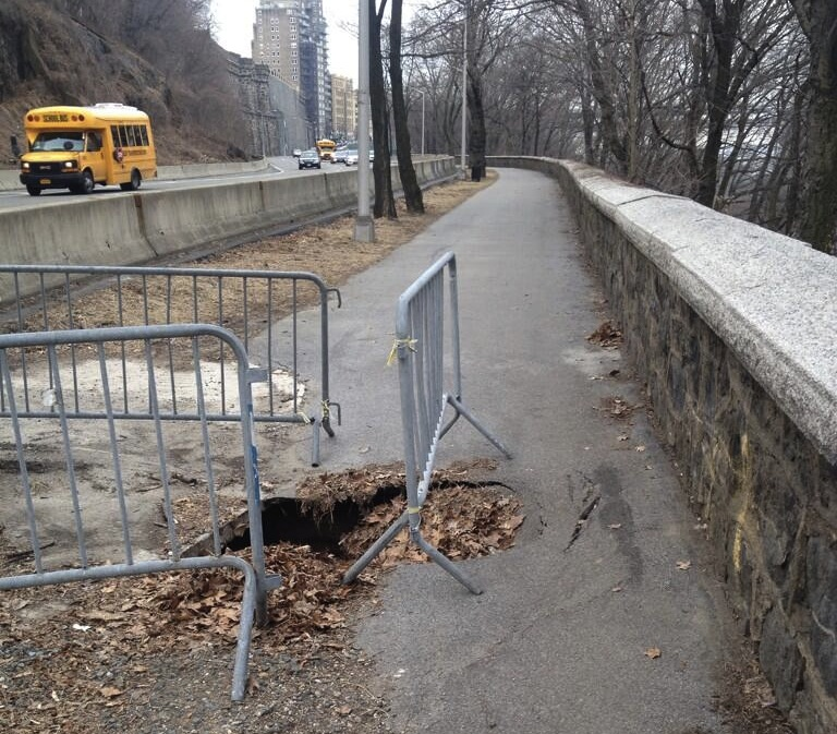 Greenway users need this like a hole in the head. Will the Parks Department fix it? Photo: BornAgainBikist/Twitter