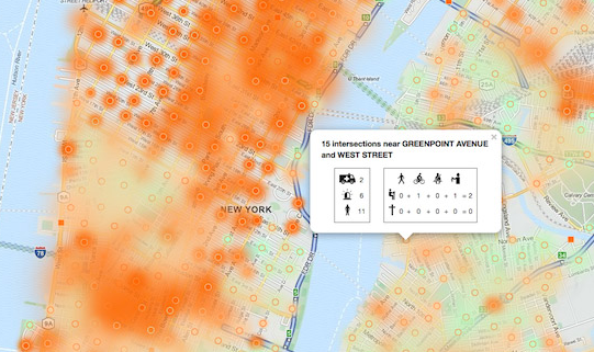 No need to reformat NYPD's monthly reports anymore. Now, crashes, fatalities and injuries can be easily mapped and sorted. And it's updated daily. Image: NYC Crashmapper