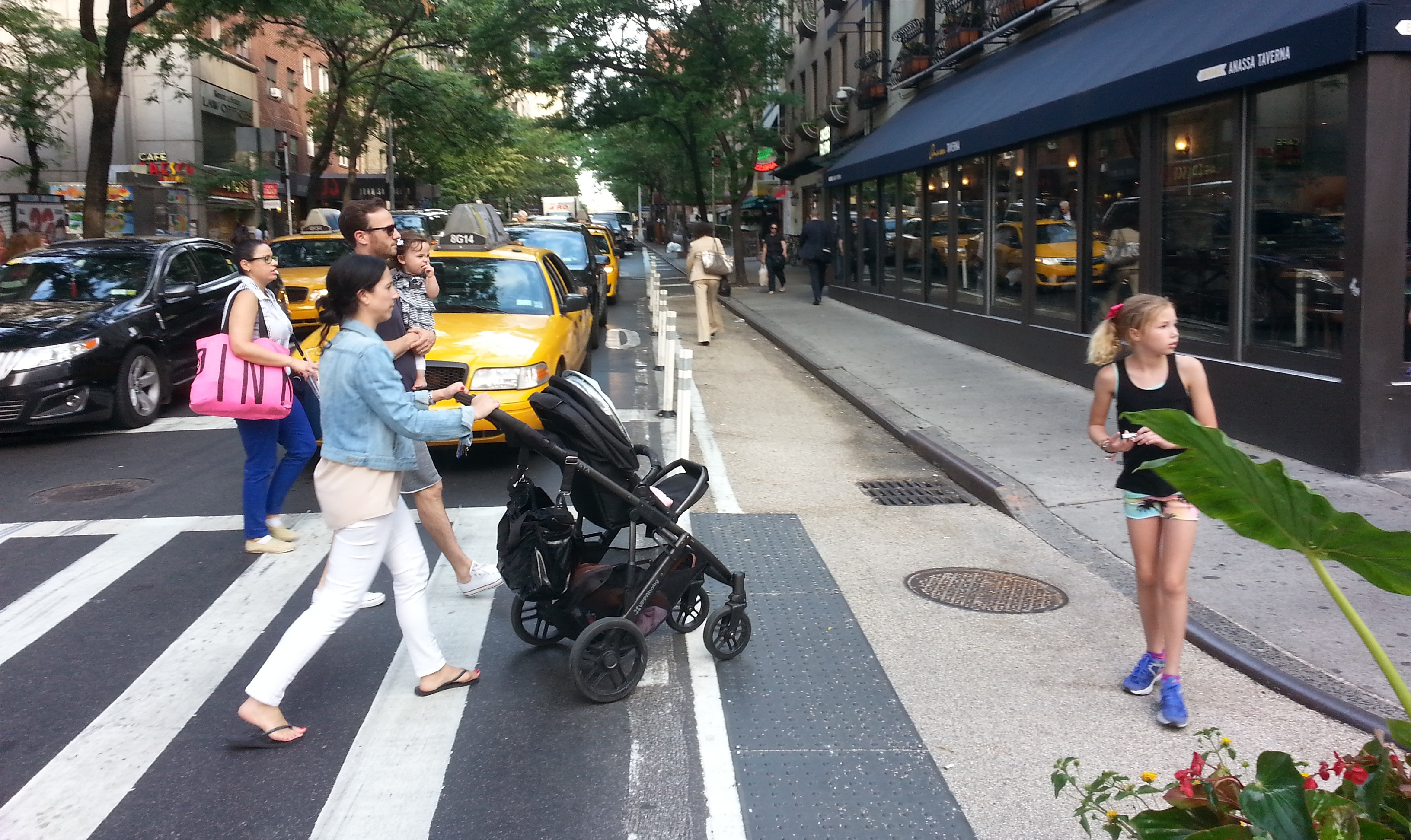 The crowded intersection of 60th Street and Third Avenue now has a bit more space for pedestrians. Photo: Stephen Miller