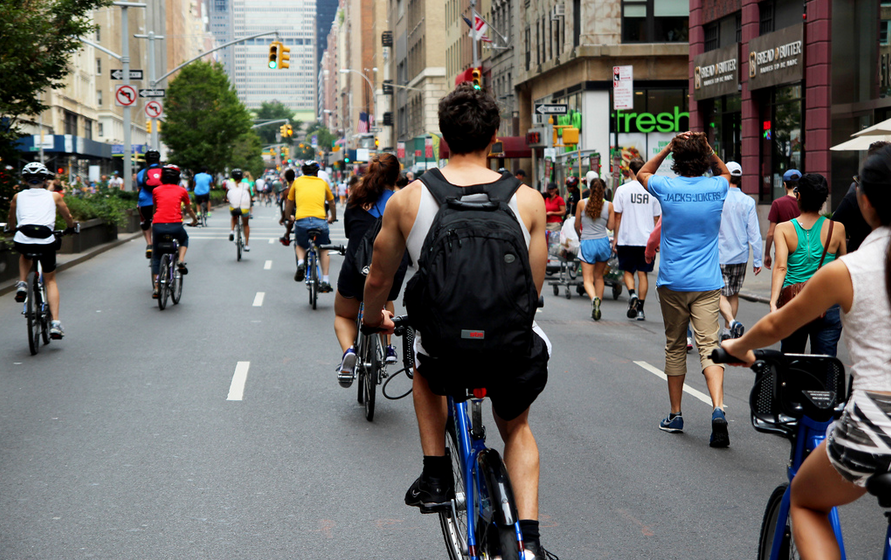 It's back, but not bigger: Summer Streets and a mostly car-free Central Park will return this summer, as smaller car-free streets events in all five boroughs continue to grow. Photo: DOT