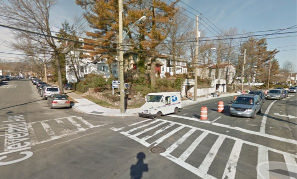 Photos from the scene of a Monday afternoon crash show a Honda on the sidewalk on the northeast corner of Hylan Boulevard and Cleveland Avenue. Image: Google Maps