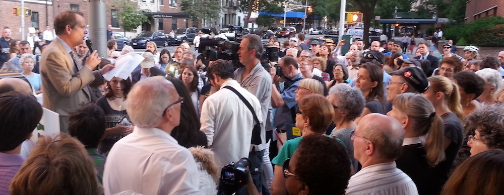 John Chambers addresses last light's vigil for his wife Jean, killed last week by a turning driver at West End Avenue and 95th Street. Photo: Stephen Miller