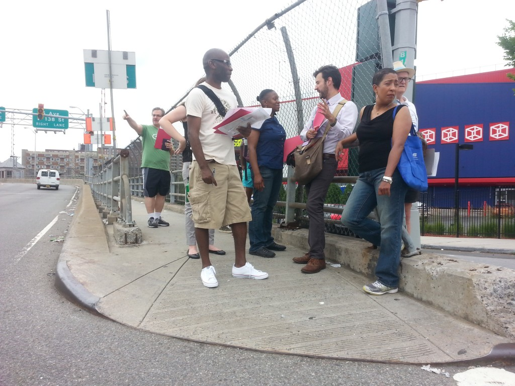 The group squeezes onto the Bronx side of the Madison Avenue Bridge. Photo: Stephen Miller