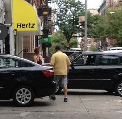 "Another persistent violator: car rental outlets and garages on W. 83rd Street in Manhattan, which ##https://twitter.com/kencoughlin/status/485457059551260672/photo/1##Ken Coughlin## describes as an ""incessant pedestrian slalom."""