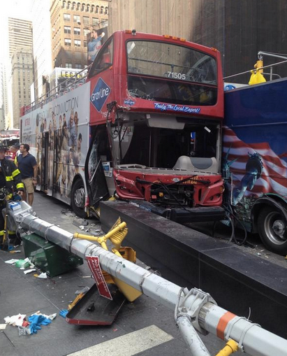 Times Square: A tour bus driver hit an SUV and another sightseeing bus, then drove onto the sidewalk, toppling a light pole. Eighteen people were injured. No charges were filed. Photo: ##https://twitter.com/FDNY/status/496750617613066240##@FDNY##