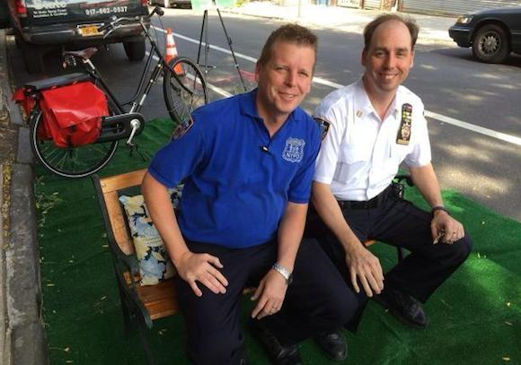 Community Affairs Officer Brian Laffey, left, and Captain Frank DiGiacomo, commanding officer of the 78th Precinct, enjoy Park(ing) Day in Park Slope. Photo: Eric McClure