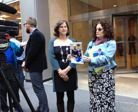 Dana Lerner, Cooper Stock's mother, before today's TLC hearing, with City Council Member Helen Rosenthal at left. Photo: Brad Aaron