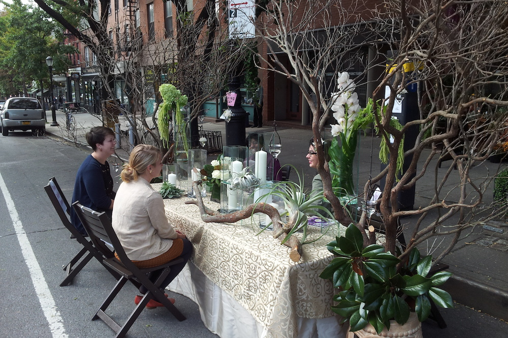 Floral Heights went all out on Atlantic Avenue in Brooklyn. Photo: Josef Szende