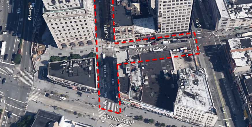 Three blocks, one on Willoughby Street and two on Pearl Street, could become shared space. Photo: Google Earth