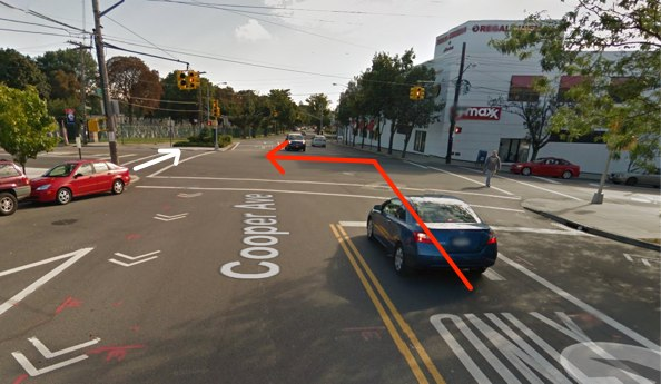 Martin Srodin, whose path is indicated in white, was killed by a trucker making a left turn in Glendale this morning. Semi truck drivers have killed at least eight NYC pedestrians since January 2012. Image: Google Maps