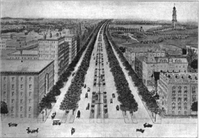 Transforming Queens Boulevard into a street worthy of its grand name isn't a new idea. The Queens Chamber of Commerce suggested it as far back as 1914. Image: Good Roads magazine via CoLab Radio