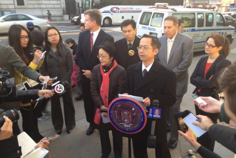 Michael Cheung speaks about his mother, who was killed in a Canal Street crosswalk by a driver last month. No charges have been filed against the driver. Photo: Margaret Chin/Twitter