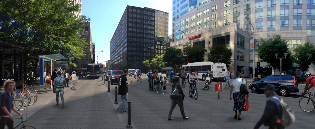A shared space design would give pedestrians priority on Jay Street near MetroTech. Image: Street Plans Collaborative for Transportation Alternatives