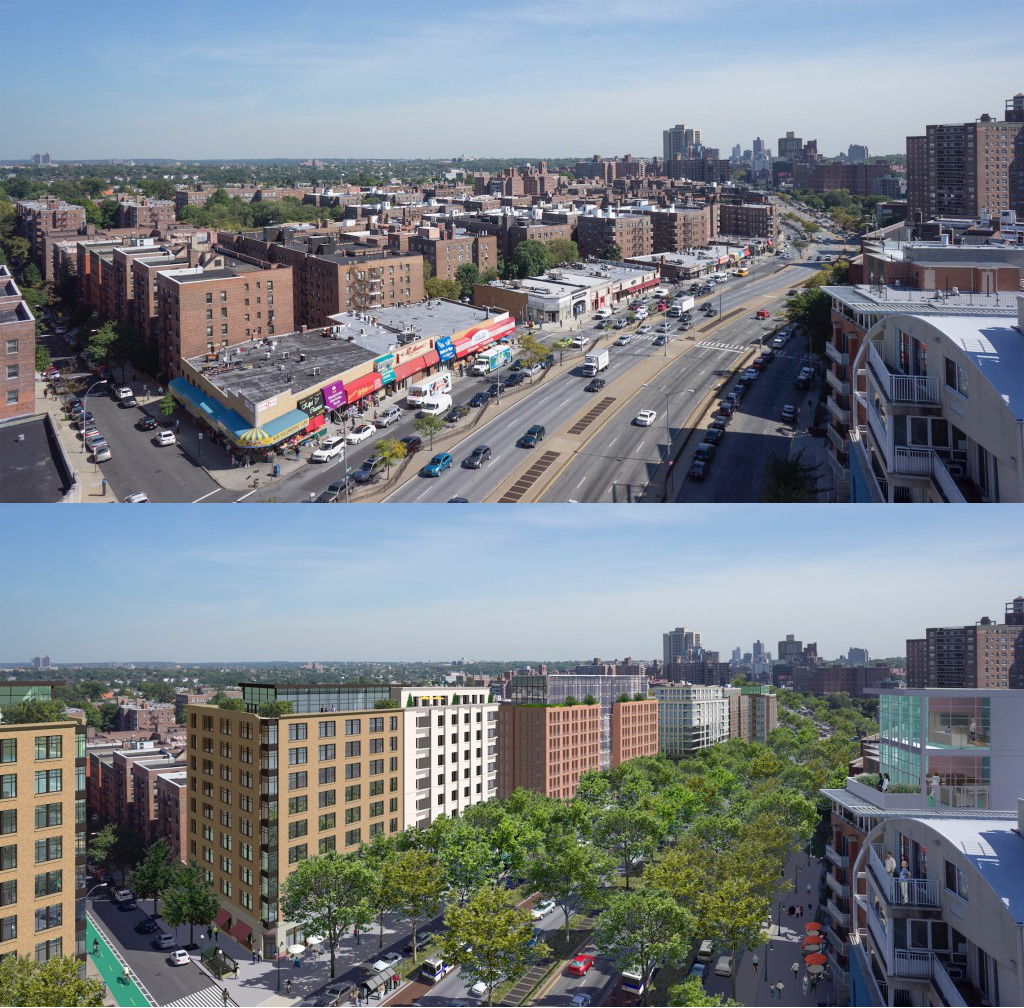 A safer Queens Boulevard isn't just about tweaks at the intersections. It's about making it a place where people want to walk. Images: Massengale & Co LLC and Urban Advantage for Transportation Alternatives
