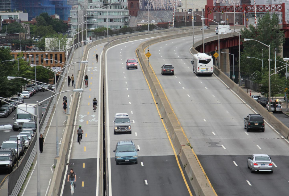 This time next year, cyclists and pedestrians will no longer share the same cramped path on the Pulaski Bridge. Image: DOT [PDF]
