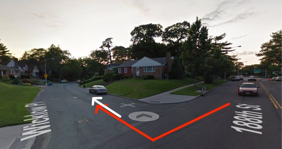 "Ignascio Andal, whose path is indicated in white, was killed by a driver on a street with no sidewalks in Jamaica Estates. NYPD said ""no criminality is suspected."" Motorists have killed at least three pedestrians this year in the 107th Precinct. Image: Google Maps"