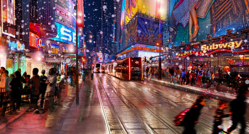A group of planners and architects is advocating for 42nd Street to be transformed into a car-free street with light rail. Image via Vision42 [PDF]