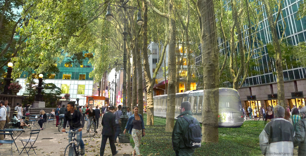 Another conceptual design extends the greenery of Bryant Park out onto 42nd Street. Image via Vision42 [PDF]