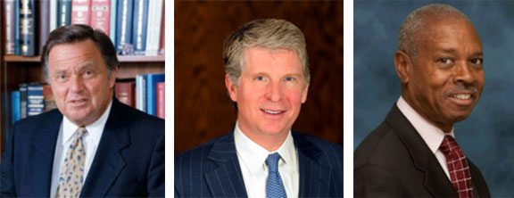 Queens DA Richard Brown, Manhattan DA Cy Vance, and Bronx DA Robert Johnson.