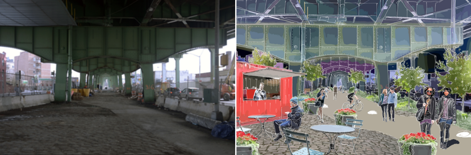 The Department of City Planning is recommending making Hamilton Avenue beneath the Gowanus Expressway more pedestrian friendly. Image: DCP