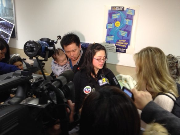 Amy Tam and Hsi-Pei Liao speak to reporters after the New York State DMV failed to take action against the driver's license of the man who killed their daughter Allison. Photo: Brad Aaron
