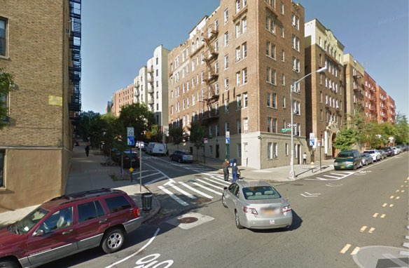 A partially daylighted corner in the Inwood Slow Zone. Image: Google Maps