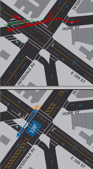 Intervale and East 169th Street gets squared off to improve visibility, slow turns, and shorten crossing distances. Image: DOT [PDF]