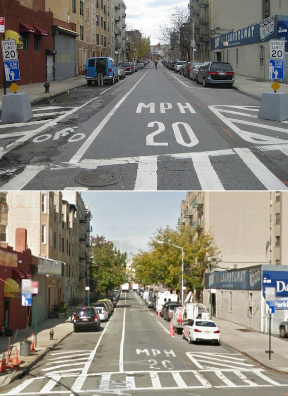 Top to bottom: Slow Zone signs at E. 167th Street and Longfellow Avenue in the Claremont section of the Bronx, site of the city's first 20 mph residential zone, in 2011 and 2014. Photos: Noah Kazis (top), Google Maps
