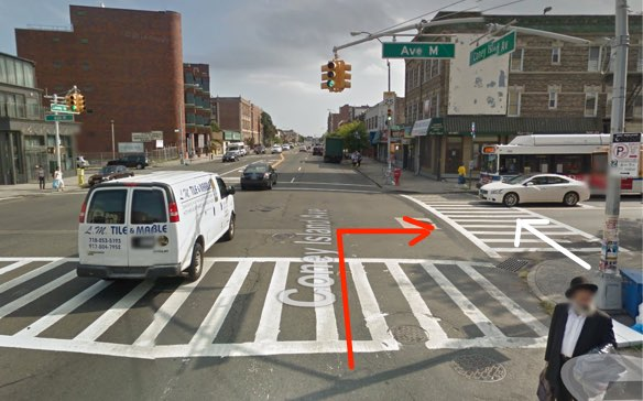 NYPD filed no charges against the driver who killed Martin Hernandez Tufino as he crossed the street in a crosswalk. The red arrow represents the movement of the driver and the white arrow the movement of the victim, according to information released by NYPD. Image: Google Maps