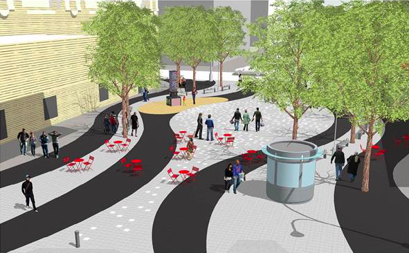 The plaza will add pedestrian space and create a permanent home for vendors and a farmers market. Image: DOT/DDC