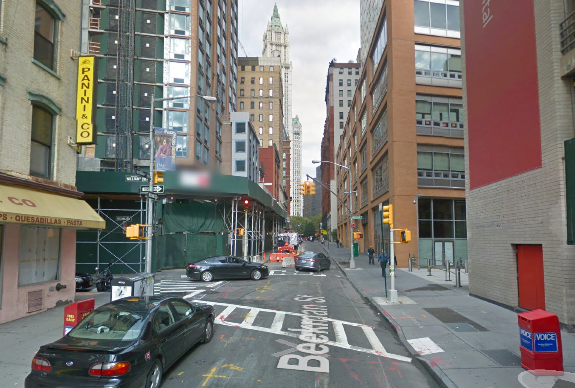 Beekman Street, with Spruce Street School and New York Presbyterian Lower Manhattan Hospital at right, where a driver hit Heather Hensl on the sidewalk and left the scene. Parents say motorists routinely drive on the sidewalk in front of the school to get around traffic. Image: Google Maps