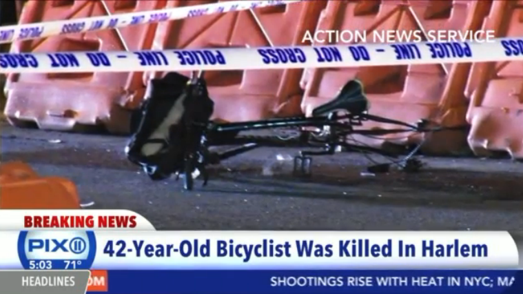 The bicycle of the man killed by a reckless East Harlem driver fleeing police. Photo via WPIX